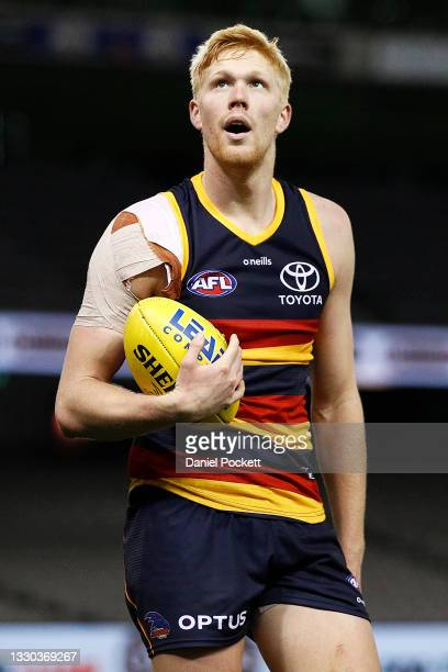Elliott Himmelberg of the Crows looks on as he walks back to take a shot at goal during the round 20 AFL match between Adelaide Crows and Hawthorn...