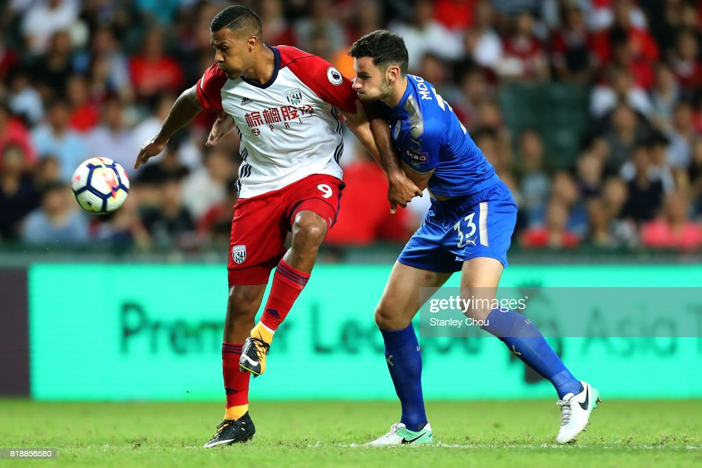 Elliott Moore of Leicester City battles with Salomon Rondon of West Bromwich during the Premier League Asia Trophy match between Leicester City and West Bromwich Albion at Hong Kong Stadium on July 19, 2017 in Hong Kong, Hong Kong.