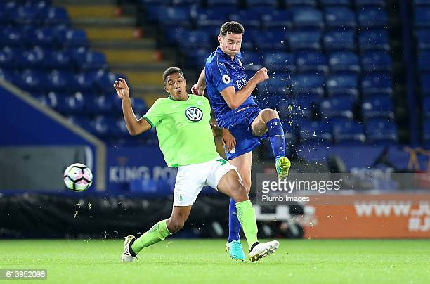 Elliott Moore of Leicester City in action with Anton Donker of VFL Wolfsburg during the Premier League International Cup match between Leicester City...