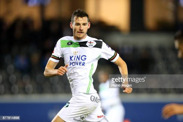 Elliott Moore on loan from Leicester City during the OH Leuven v Roeselare Jupiler Pro League B match at Den Dreef Stadium on November 12 2017 in...