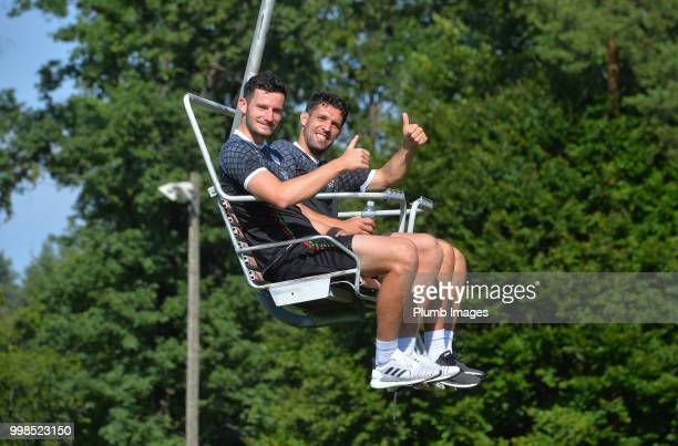 Elliott Moore with Clément Fabre during team bonding activities during the OHL Leuven training session on July 09 2018 in Maribor Slovenia