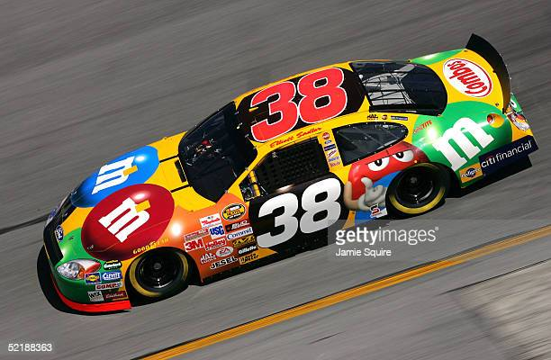 Elliott Sadler driver of the MM's Ford in action during practice for the NASCAR Nextel Cup Daytona 500 on February 12 2005 at the Daytona...