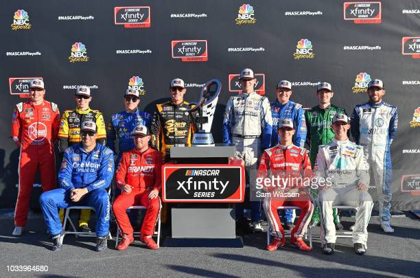 Elliott Sadler driver of the OneMain Financial Chevrolet Justin Allgaier driver of the BRANDT Professional Agriculture Chevrolet Ryan Reed driver of...