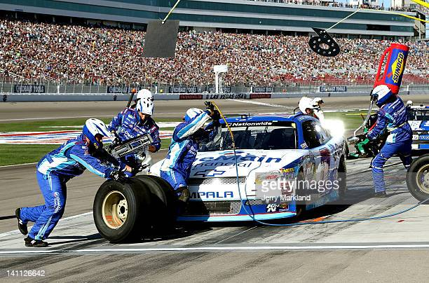 Elliott Sadler driver of the OneMain Financial Chevrolet pits during the NASCAR Nationwide Series Sam's Town 300 at Las Vegas Motor Speedway on March...