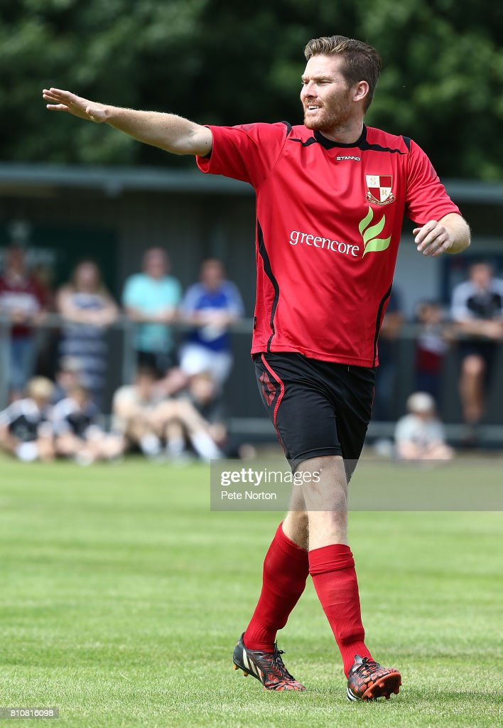 Elliott Sandy of Sileby Rangers in action during a Pre-Season Friendly Match between Sileby Rangers and Northampton Town at Fernie Fields on July 8, 2017 in Northampton, England.