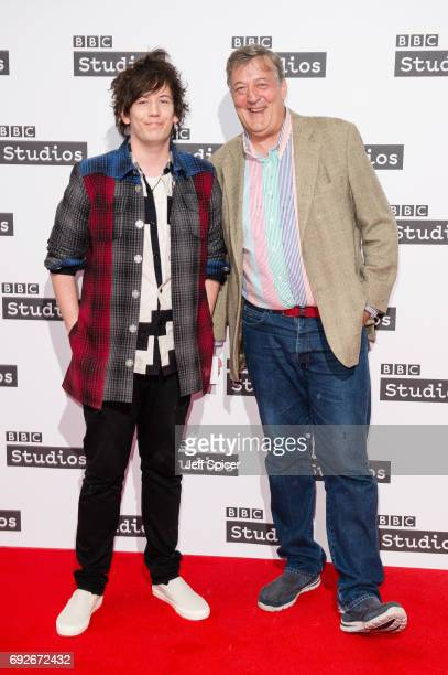 Elliott Spencer and Stephen Fry attend the Ronnie Barker comedy lecture with Ben Elton at BBC Broadcasting House on June 5 2017 in London England