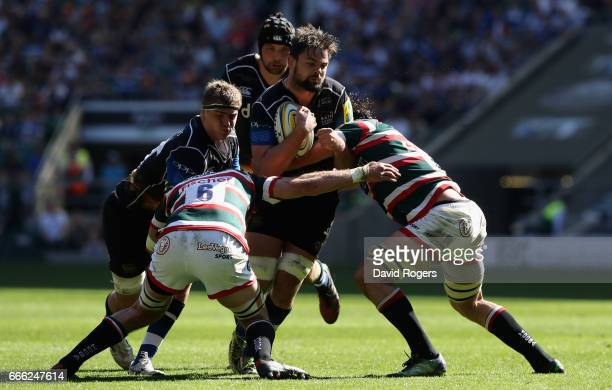 Elliott Stooke of Bath is tackled during the Aviva Premiership match between Bath and Leicester Tigers at Twickenham Stadium on April 8 2017 in...