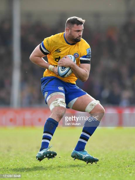 Elliott Stooke of Bath looks for space during the Gallagher Premiership Rugby match between Exeter Chiefs and Bath Rugby at Sandy Park on March 07,...