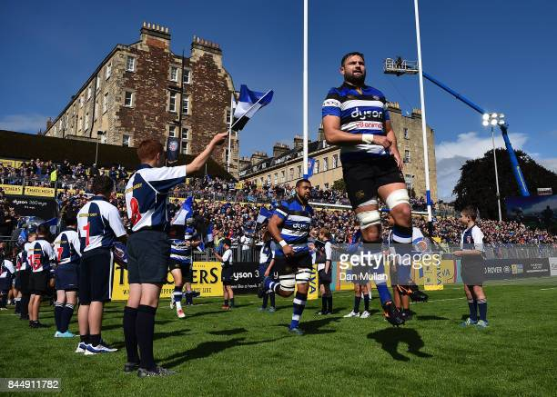 Elliott Stooke of Bath makes his way onto the pitch during the Aviva Premiership match between Bath Rugby and Saracens at Recreation Ground on...