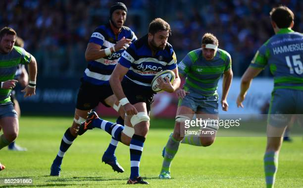 Elliott Stooke of Bath Rugby makes a break during the Aviva Premiership match between Bath Rugby and Newcastle Falcons at the Recreation Ground on...
