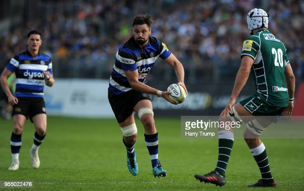 Elliott Stooke of Bath Rugby makes a break during the Aviva Premiership match between Bath Rugby and London Irish at the Recreation Ground on May 5...