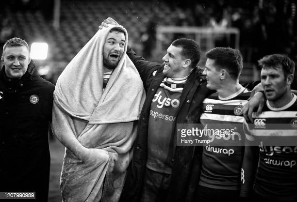 Elliott Stooke of Bath Rugby reacts with Josh Matavesi of Bath Rugby at the final whistle during the Gallagher Premiership Rugby match between Bath...