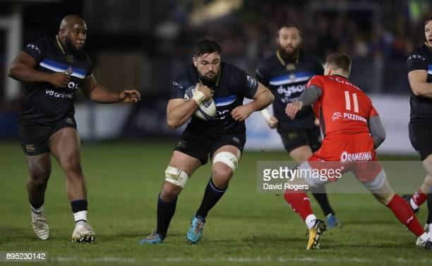 Elliott Stooke of Bath runs with the ball during the European Rugby Champions Cup match between Bath Rugby and RC Toulon at the Recreation Ground on...
