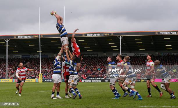 Elliott Stooke of Bath wins a lineout during the Aviva Premiership match between Gloucester Rugby and Bath Rugby at Kingsholm Stadium on April 28...