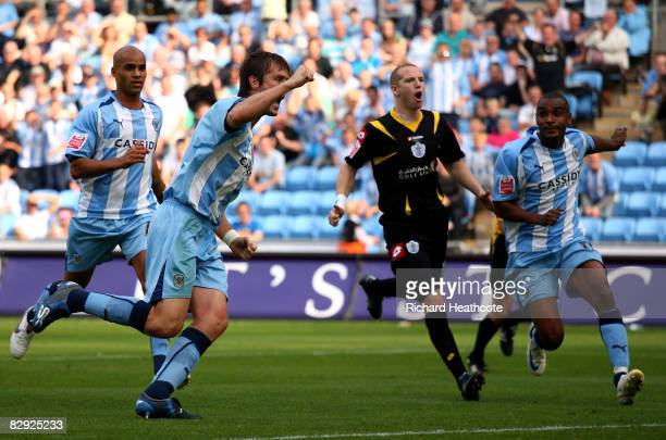 Elliott Ward of Coventry celebrates as he scores the first goal from the penalty spot during the CocaCola Championship match between Coventry City...