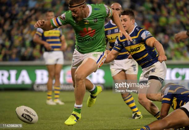 Elliott Whitehead of the Canberra Raiders scores a try during the Round 5 Canberra Raiders and Parramatta Eels match at GIO Stadium on April 14 2019...