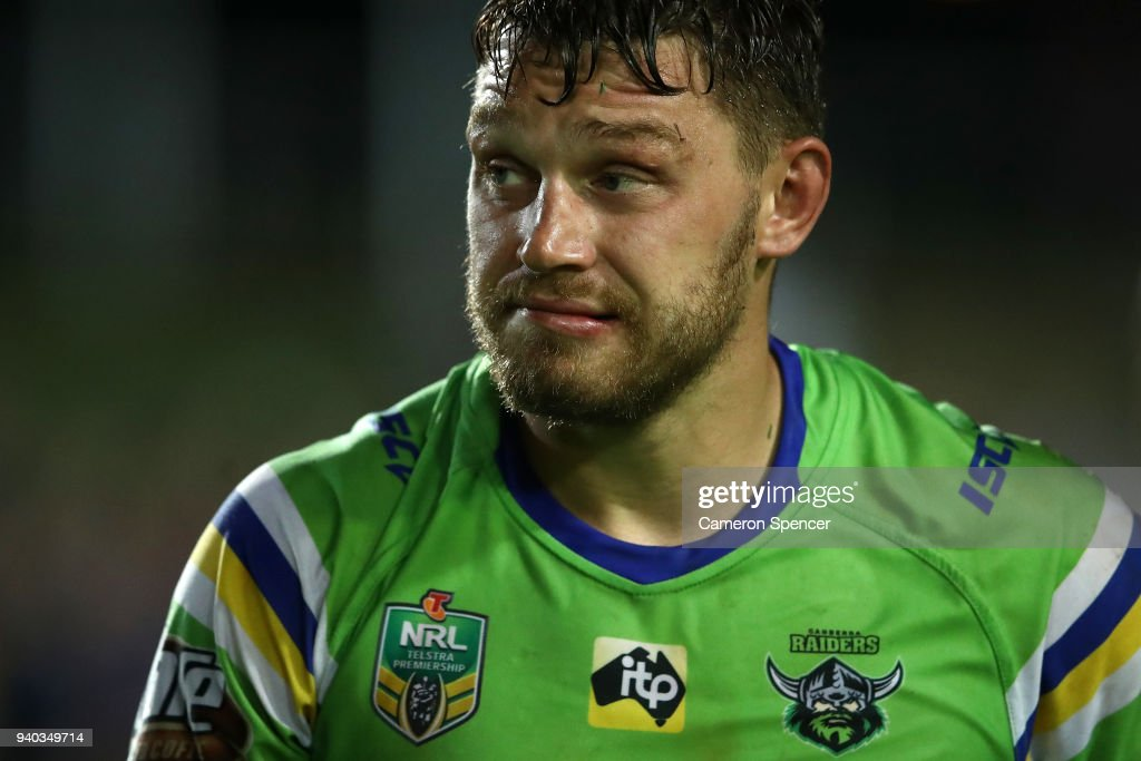 Elliott Whitehead of the Raiders leaves the field looking dejected after losing the round four NRL match between the Many Sea Eagles and the Canberra Raiders at Lottoland on March 31, 2018 in Sydney, Australia.