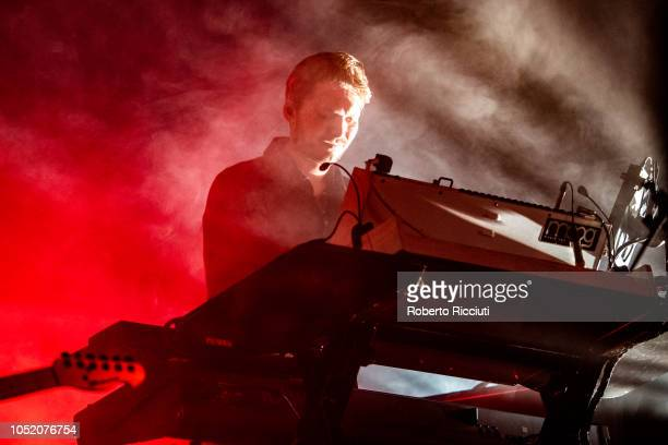 Elliott Williams of Editors performs on stage at Barrowlands Ballroom on October 13 2018 in Glasgow Scotland