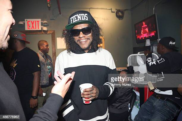 Elliott Wilson and AbSoul attend backstage at Irving Plaza on October 6 2014 in New York City