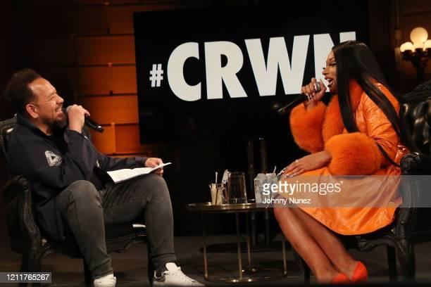 Elliott Wilson and Megan Thee Stallion speak onstage at #CRWN A Conversation With Elliott Wilson And Megan Thee Stallion at Gotham Hall on March 10...