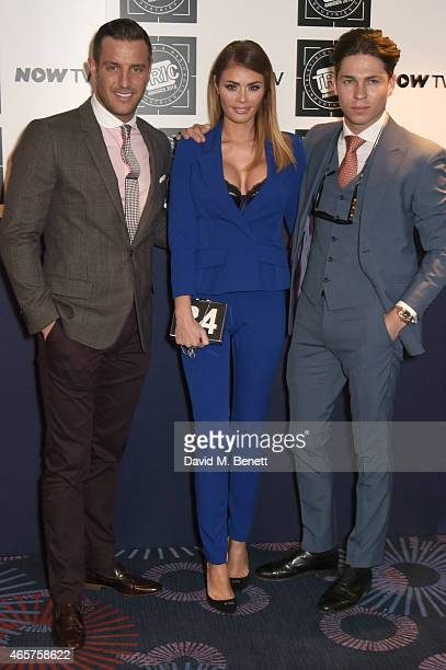 Elliott Wright Chloe Sims and Joey Essex attend the TRIC Television and Radio Industries Club Awards at The Grosvenor House Hotel on March 10 2015 in...