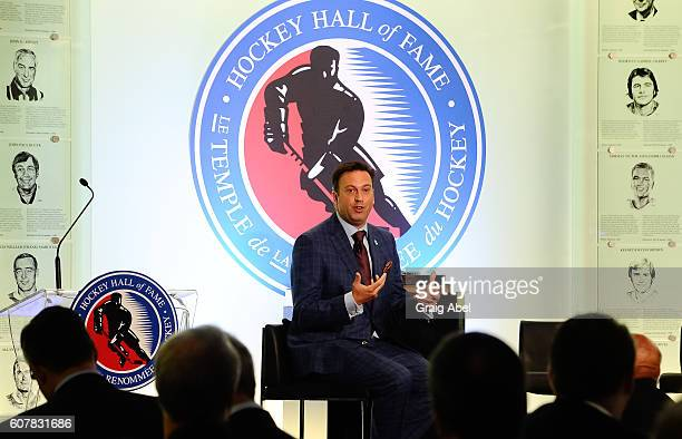 Elliotte Friedman speaks at Hockey SENSE in partnership with the NHL NHLPA and Beyond Sport at the World Cup of Hockey 2016 at Hockey Hall of Fame on...