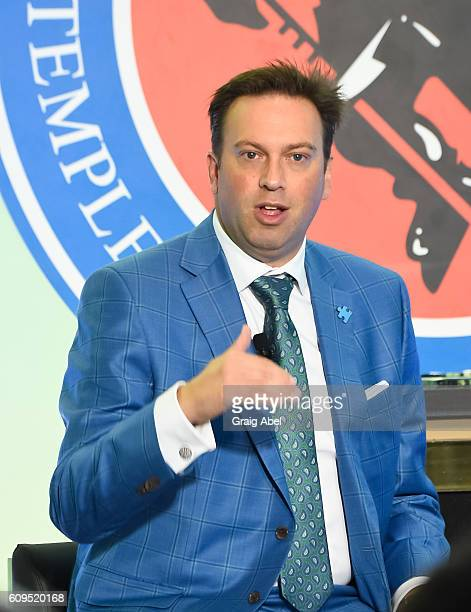 Elliotte Friedman speaks at Hockey SENSE in partnership with the NHL NHLPA and Beyond Sport at the World Cup of Hockey 2016 at the Hockey Hall of...