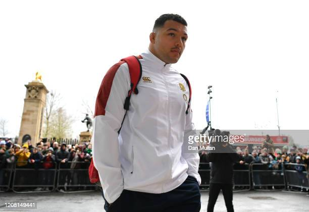 Ellis Genge of England arrives before the 2020 Guinness Six Nations match between England and Ireland at Twickenham Stadium on February 23 2020 in...