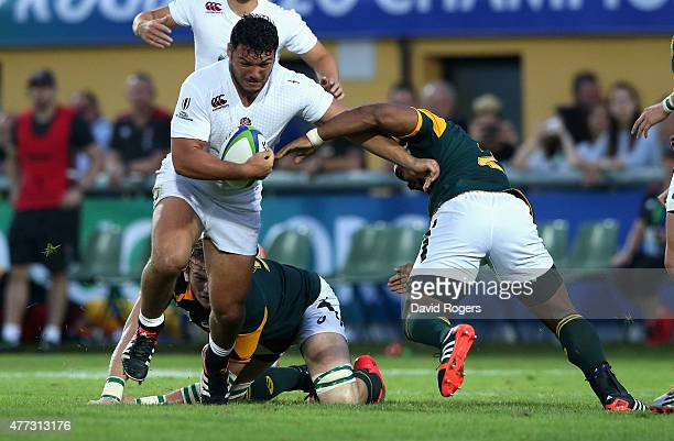 Ellis Genge of England is tackled during the World Rugby U20 Championship semi final match between England and South Africa at Stadio San Michele on...