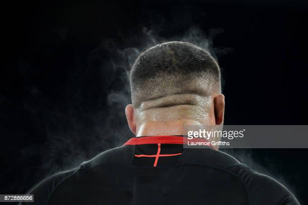 Ellis Genge of England looks on after the Old Mutual Wealth Series match between England and Argentina at Twickenham Stadium on November 11 2017 in...