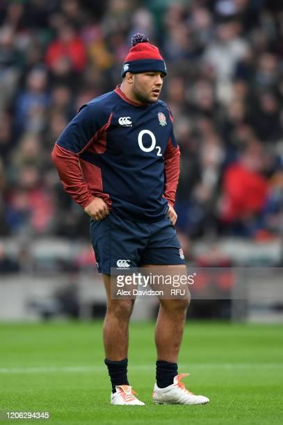 Ellis Genge of England looks on during an England Open Training Session at Twickenham Stadium on February 14 2020 in London England