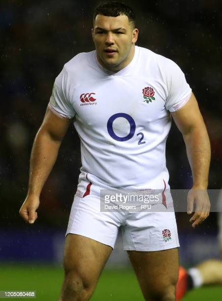 Ellis Genge of England looks on during the 2020 Guinness Six Nations match between Scotland and England at Murrayfield on February 08 2020 in...