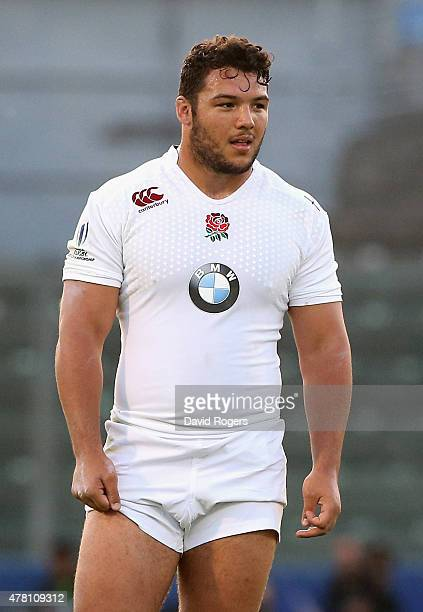 Ellis Genge of England looks on during the World Rugby U20 Championship final match between England and New Zealand at Stadio Giovanni Zini on June...