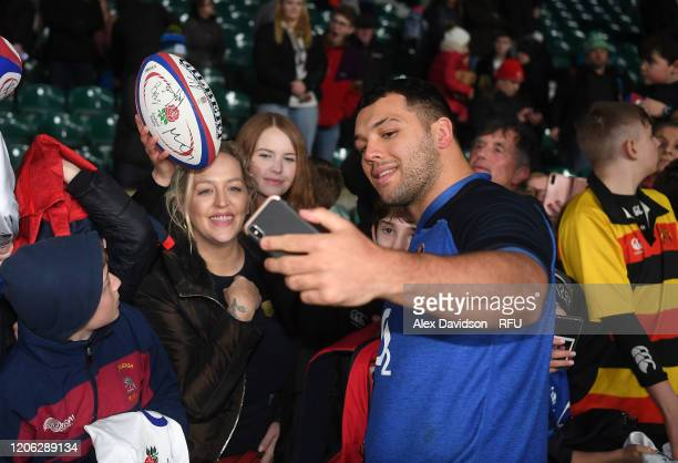 Ellis Genge of England poses for a selfie after an England Open Training Session at Twickenham Stadium on February 14 2020 in London England