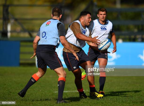 Ellis Genge of England releases a pass during a training session at San Isidro Club on June 7 2017 in Buenos Aires Distrito Federal