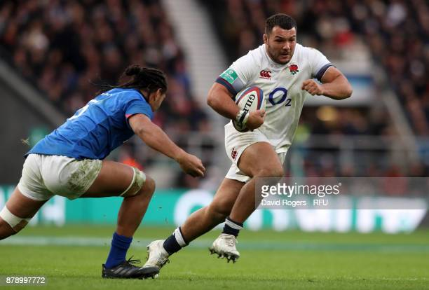 Ellis Genge of England runs with the ball during the Old Mutual Wealth Series match between England and Samoa at Twickenham Stadium on November 25...
