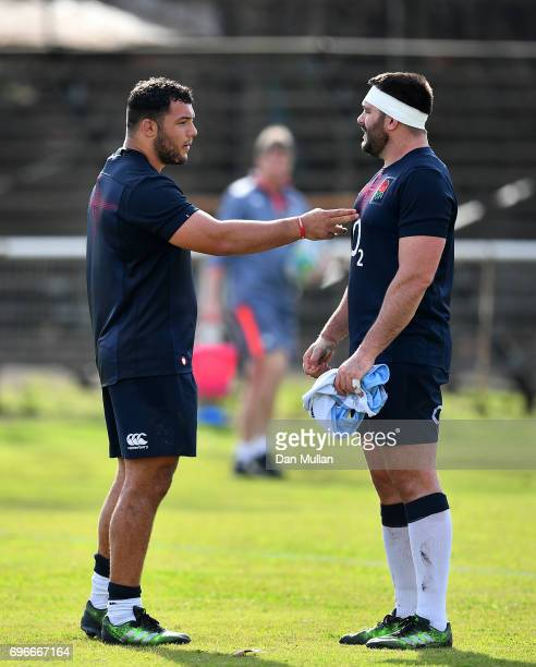 Ellis Genge of England talks with Will Collier of England during a training session at Club Universitario on June 16 2017 in Santa Fe Santa Fe