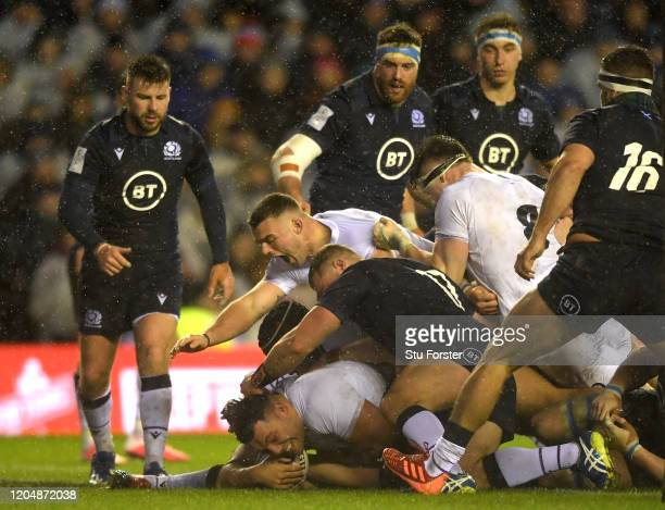Ellis Genge of England touches down for his team's first try during the 2020 Guinness Six Nations match between Scotland and England at Murrayfield...