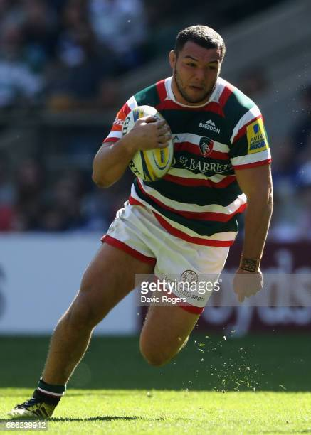 Ellis Genge of Leicester breaks with the ball during the Aviva Premiership match between Bath and Leicester Tigers at Twickenham Stadium on April 8...