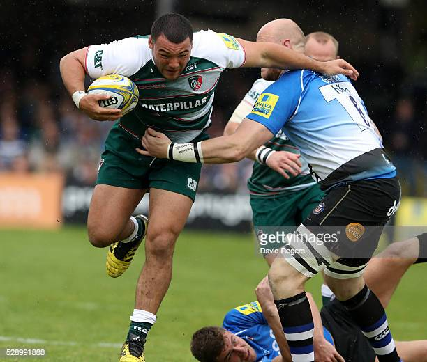 Ellis Genge of Leicester charges upfield during the Aviva Premiership match between Bath and Leicester Tigers at the Recreation Ground on May 7 2016...