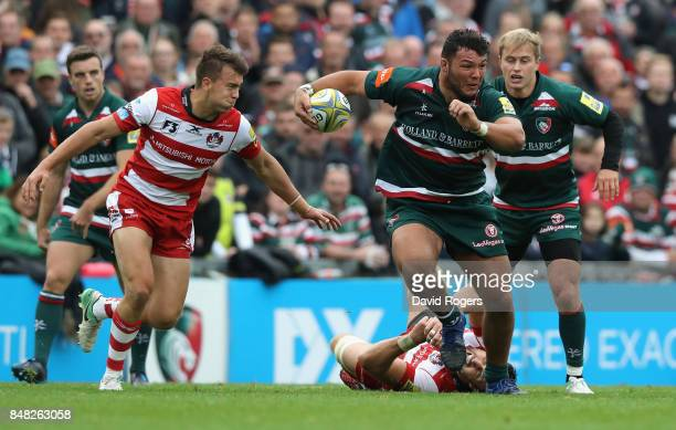 Ellis Genge of Leicester charges upfield during the Aviva Premiership match between Leicester Tigers and Gloucester Rugby at Welford Road on...