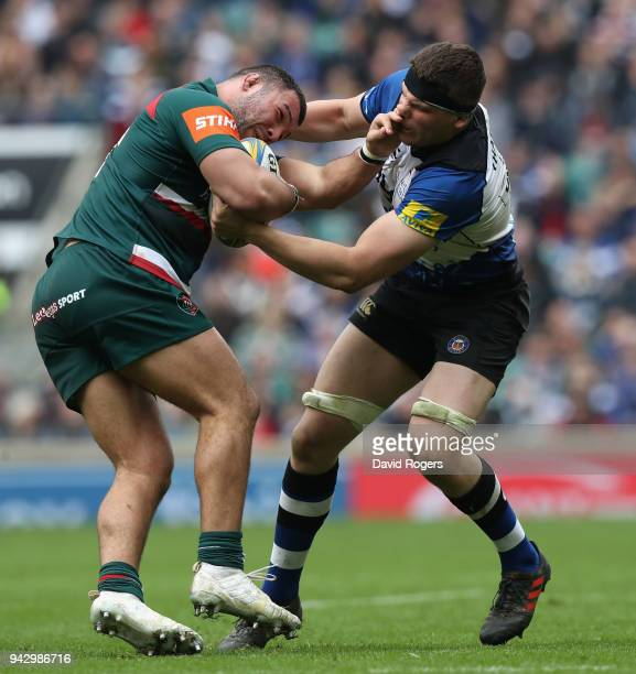 Ellis Genge of Leicester is tackled by Charlie Ewels during the Aviva Premiership match between Bath Rugby and Leicester Tigers at Twickenham Stadium...