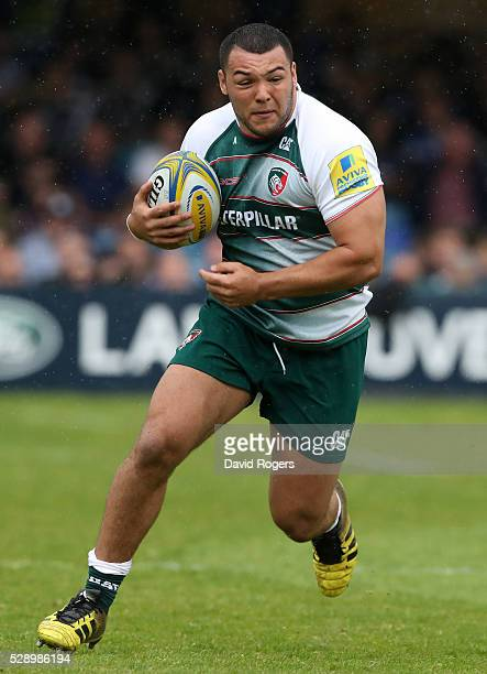 Ellis Genge of Leicester runs with the ball during the Aviva Premiership match between Bath and Leicester Tigers at the Recreation Ground on May 7...