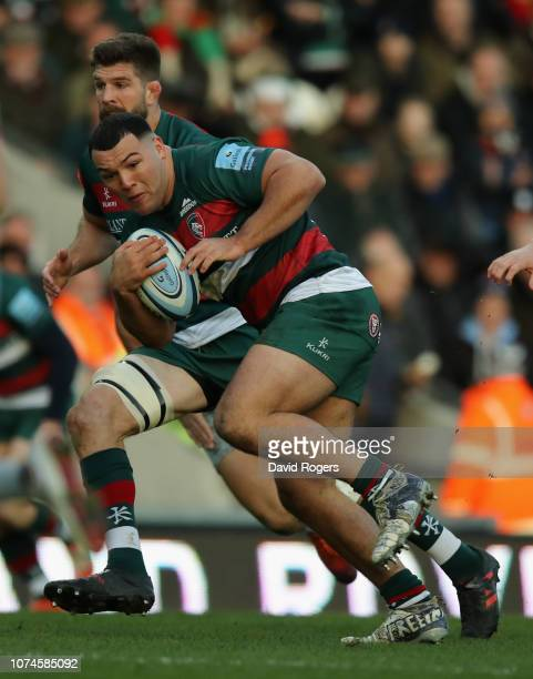 Ellis Genge of Leicester Tigers breaks with the ball during the Gallagher Premiership Rugby match between Leicester Tigers and Harlequins at Welford...