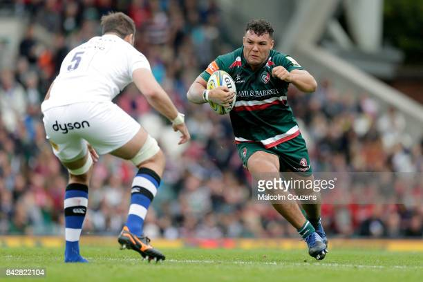 Ellis Genge of Leicester Tigers during the Aviva Premiership match between Leicester Tigers and Bath Rugby at Welford Road on September 3 2017 in...