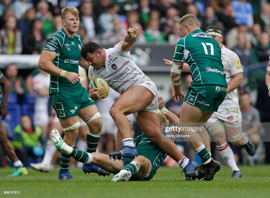 Ellis Genge of Leicester Tigers during the Aviva Premiership match between London Irish and Leicester Tigers at Madejski Stadium on October 7, 2017 in Reading, England.