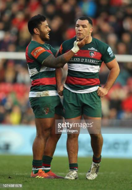 Ellis Genge of Leicester Tigers is congratulated by team mate Manu Tuilagi after winning a penalty in the scrum during the Gallagher Premiership...