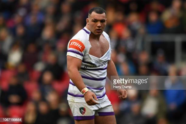 Ellis Genge of Leicester Tigers looks on as his shirt is ripped during the Gallagher Premiership Rugby match between Bristol Bears and Leicester...