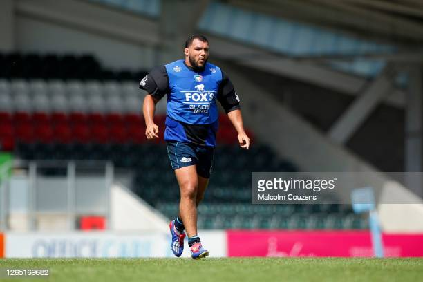 Ellis Genge of Leicester Tigers looks on during a training session at Welford Road on August 06 2020 in Leicester England