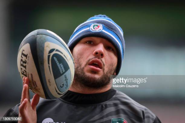 Ellis Genge of Leicester Tigers looks on during the Gallagher Premiership Rugby match between Leicester Tigers and Newcastle Falcons at Welford Road...